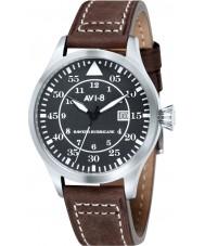 AVI-8 AV-4012-02 Mens huracán del vendedor ambulante de cuero marrón reloj de la correa