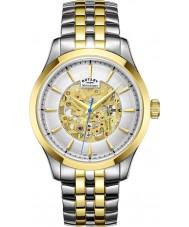 Rotary GB05033-06 Mens champán dos de oro tono plateado reloj mecánico esquelético