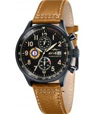 AVI-8 AV-4011-06 Para hombre reloj cronógrafo correa de cuero de mostaza Hawker Hurricane
