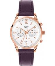 Henry London HL39-CS-0090 Damas Hampstead reloj cronógrafo blanco púrpura