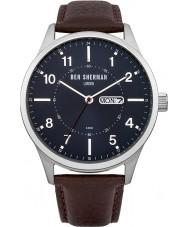 Ben Sherman WB002BR Reloj para hombre de la correa de cuero azul y marrón