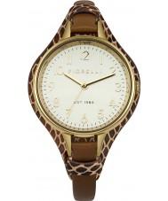 Fiorelli FO006TG Las señoras reloj chapado en oro marrón brazalete de cuero