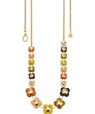 Orla Kiely N4021 Señoras de cadena de oro de 18 quilates de varios colores collar largo de la flor