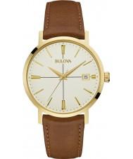 Bulova 97B151 Reloj para hombre de la correa de cuero marrón Aerojet