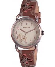 Kahuna KLS-0250L Señoras del reloj de flores de color marrón amarillento