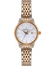 Dreyfuss and Co DLB00127-02 Damas 7 enlaces en dos tonos de rosa reloj pulsera plateada