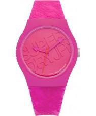 Superdry SYL169P reloj de la correa de silicona rosa urbano con el logotipo impreso en color rosa brillante