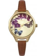 Oasis B1540 reloj de la correa de cuero marrón de las señoras