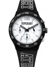 Superdry SYG205B Mens atletismo urbanas reloj correa de silicona negro