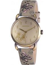 Kahuna KLS-0252L Damas gris reloj floral amarillento
