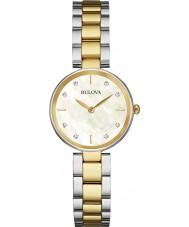 Bulova 98S146 Las señoras del diamante del reloj pulsera de acero de dos tonos