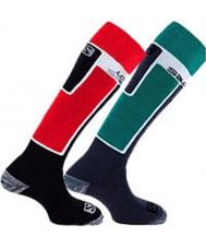 Salomon 369251-REDGRN-S Elios calcetines rojos y verdes de 2 paquetes de tamaño - s (uk 3,5-5)