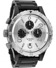 Nixon A486-180 Para hombre reloj pulsera cronógrafo 48-20 de acero negro