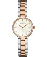 Bulova 98S147 Las señoras del diamante del reloj pulsera de acero de dos tonos