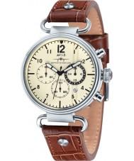 AVI-8 AV-4014-02 Mens huracán del vendedor ambulante de cuero marrón correa de reloj cronógrafo