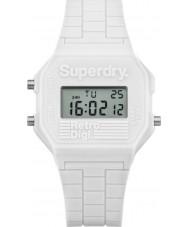 Superdry SYL201W Señoras del reloj de la correa de silicona blanca retro digi