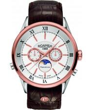 Roamer 508821-49-13-05 fase lunar para hombre superior de cuero marrón reloj de la correa