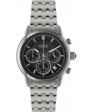 Rotary GB02876-04 relojes para hombre mónaco reloj cronógrafo de plata negro