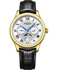 Rotary GS05066-01 relojes para hombre reloj cronógrafo Fase lunar negro