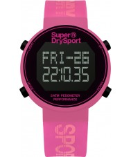 Superdry SYL203P Damas podómetro digi reloj correa de silicona de color rosa