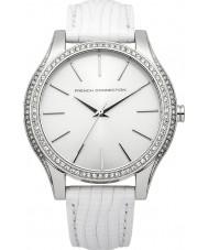 French Connection FC1205W reloj de la correa de cuero plateado y blanco de las señoras