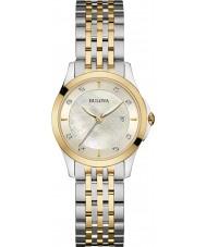 Bulova 98S148 Las señoras del diamante del reloj pulsera de acero de dos tonos