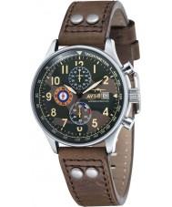 AVI-8 AV-4011-09 Mens huracán del vendedor ambulante de cuero marrón correa de reloj cronógrafo