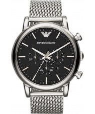 Emporio Armani AR1808 Reloj para hombre pulsera de malla de plata clásico cronógrafo