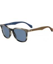 HUGO BOSS Mens jefe 0843-s IWF cuerno 9a gafas de sol azules marrones