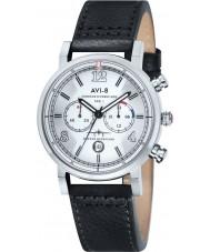 AVI-8 AV-4015-01 Mens huracán del vendedor ambulante de cuero negro correa de reloj cronógrafo