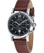 AVI-8 AV-4015-02 Mens huracán del vendedor ambulante de cuero marrón correa de reloj cronógrafo