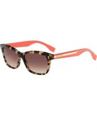 Fendi Color bloque FF 0086-s hK3 d8 gafas de sol rosadas Habana