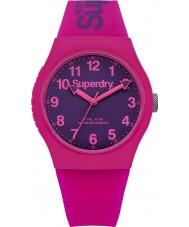 Superdry SYG164PV reloj de la correa de silicona rosa urbana damas