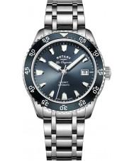 Rotary GB90168-05 Mens relojes legado de acero de plata reloj pulsera