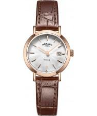 Rotary LS05304-02 Relojes de Windsor rosa correa de reloj de cuero marrón chapados en oro