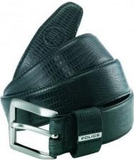 Police POMAA8-0402CL P arquero hebilla de plata de la correa de cuero negro - talla L