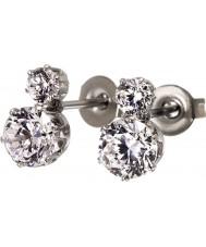 Edblad 31630124 Señoras de la corona pendientes dobles del perno prisionero del acero de plata