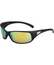 Bolle Retroceder negro mate polarizadas gafas de sol marrones de esmeraldas
