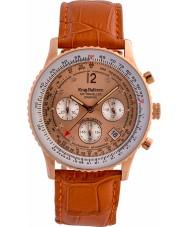 Krug-Baumen 400704DS reloj de la correa de cuero de color naranja Aire diamante viajero