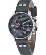 AVI-8 AV-4011-0A Mens huracán del vendedor ambulante de cuero gris correa de reloj cronógrafo
