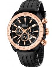 Festina F16899-1 el prestigio de cuero para hombre reloj cronógrafo negro