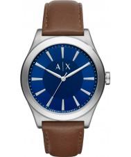 Armani Exchange AX2324 reloj de la correa de cuero de color marrón oscuro vestido de los hombres