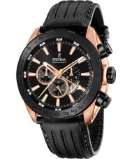Festina F16900-1 el prestigio de cuero para hombre reloj cronógrafo negro