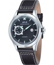AVI-8 AV-4016-03 Mens huracán del vendedor ambulante de cuero negro reloj de la correa