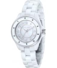 Klaus Kobec KK-10004-01 Damas de acero luna y el reloj de cerámica blanca