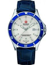 Swiss Military 6-4161-2-04-001-03 reloj de la correa de cuero azul para hombre insignia