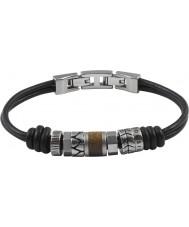 Fossil JF84196040 Para hombre pulsera de cuero negro ocasional de la vendimia