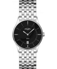 Rotary GB08200-04 Para hombre ultra delgado reloj de acero negro