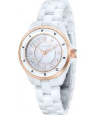 Klaus Kobec KK-10004-02 Señoras luna de oro rosa y reloj de cerámica blanca