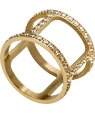 Edblad 3153441916-XS Señoras de oro amarillo anillo de Helena con la CZ plateado - talla L (x)